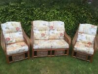 Cane Settee and two chairs