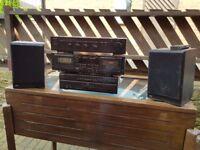 MUSIC SYSTEM SONY 5 CD PLAYER +DENIN 2 CASSETTE PLAYER = DENIN AMP + 2 SPEAKERS
