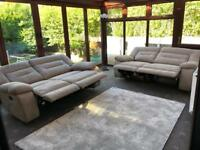 Brand New Harvey's® Kinman 2 X 3 Seater Grey Suede Recliner Sofas RRP £1200