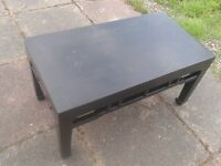 HANDMADE IMPORTED DINING ROOM WOODEN COFFEE TABLE DARK AFRICAN WOOD LOOKING ,1.5FT X 3FT