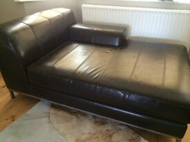 Leather chaise sofa & footstool. Great condition! £50.00