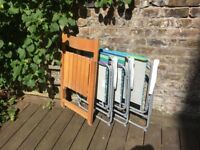 Group of folding chairs, 1 wooden, 3 poly/steel