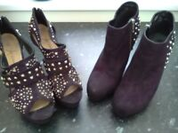 Two pairs of ladies high heeled boot shoes size 6