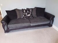 DFS Sofa Suite: 4 Seater Sofa, Cuddle Chair with Integrated Speakers and Ottoman Footstool