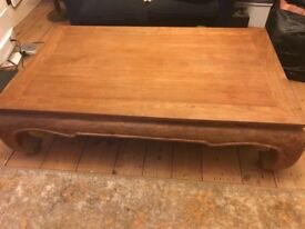 Superb solid teak Opium Leg Thai dining table/coffee table