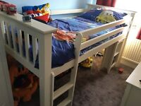 Julian Bowen Mid sleeper bed with drawers and mini wardrobe and desk