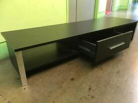 BLACK /BROWN TV CABINET WITH ONE DRAWER & CHROME LEGS NOW SOLD