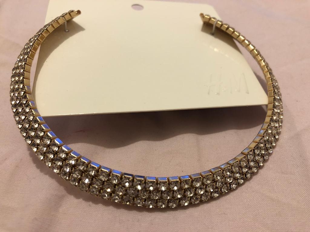 Gold crystal diamanté chocker style necklace - £20 ovno
