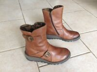 Fly London camel boots, size 4 (37)