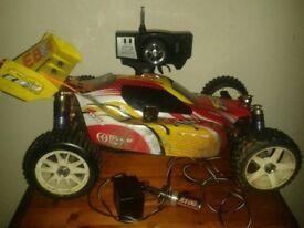 rc nitro thunder tiger eb4 car + glow stick & charger, fully running