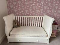 White cot bed with storage drawer and mattress John Lewis