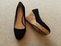 Ladies black wedge slip on shoes size 3.5 / 36 brand new