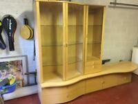 Beech sideboard and display cabinet