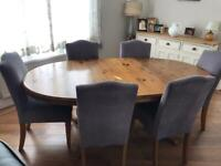 Extendable Ducal pine dining table & 6 chairs