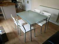 IKEA atble with 4 chairs for dining or garden 75 x 110