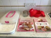Baking set with cake books, giant silicone cupcake maker, Kilner jar and cake holder.
