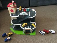ELC wooden car garage with lots of vehicles included