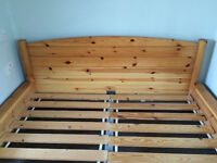 Double bed frame Ikea in real pine wood