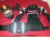 Motorbike jacket, helmet and accessories