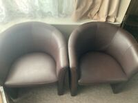Pair Tub Chairs faux leather brown