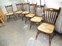 Vintage set of 6 matching upholstered chairs shabby chic upcycle restoration