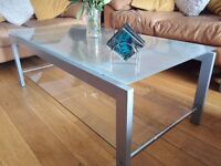 glass coffee table & matching side tables
