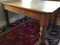Pine kitchen table (old original) solid table with lovely turned legs