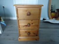 Small Pine 3 drawer chest - bed side cabinet - Saltdean