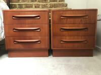 G plan three drawer bedside tables / chests