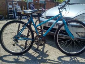 "Adults ladies mountain bike Blue 26""Wheels shimano gears"