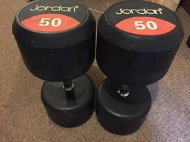 Jordan 50Kg Classic Rubber Solid End Dumbbells Free Wights