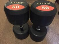 Jordan 50Kg Classic Rubber Solid End Dumbbells Free Wights