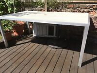 White wash wood effect and aluminium outdoor dining table