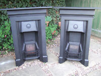 PAIR OF RECLAIMED CAST IRON FIREPLACES....FULLY RESTORED....READY TO FIT