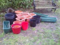 Large flower pots and troughs