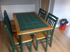 Dark green tiled table & 4 chairs