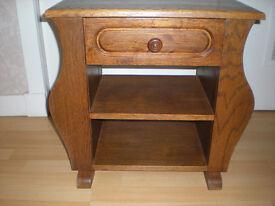 vintage solid oak cabinet with side magazine pockets