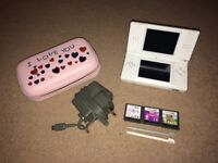 Nintendo DS white with pink carry case, 3 games and charger