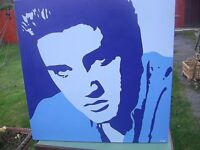 Large Original ELVIS PRESLEY painting on canvas 75 x 75 cms - Collect NORTHAMPTON