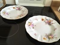 Two large bone china plates