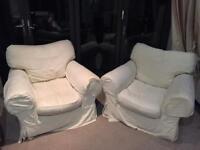 Two white sofa chairs