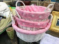 White Cane lined laundry hampers & baskets. Set of 7. 4 baskets and 3 hampers with lids.