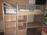 Cabin bed with draws desk and wardrobe