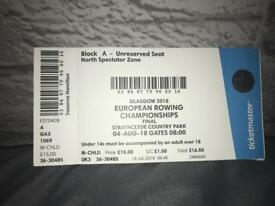 European Rowing Championships Ticket (Strathclyde Country Park)