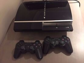 PS3 80b Piano Black Console Plus 2 Black JoyPads
