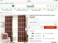 Dunelm red highland check curtains 4 pairs and 4 cushions