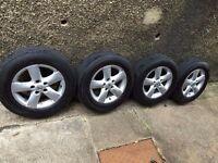 "4 x 16"" alloys with tyres + centre wheel caps nissan qashqai/juke"