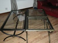 2 Glass lamp tables & a Glass coffee table with metal frames.