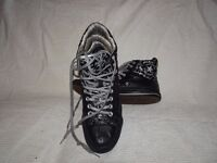 Leather Converse Hi Top Size 8 Black and Silver