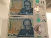 £5 NOTE *AD* LOW SERIAL NUMBER - COLLECTORS ITEM